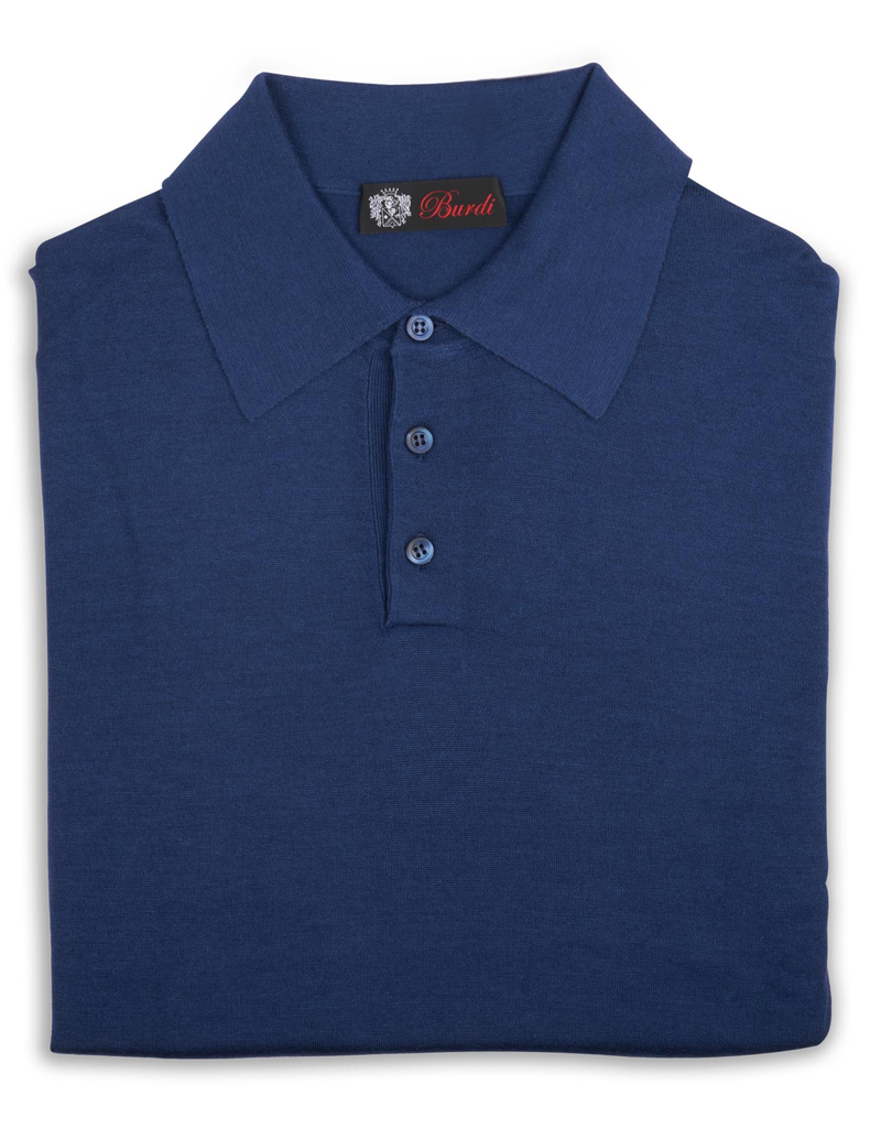 Cashmere / Silk Polo Sweater, Royal Blue