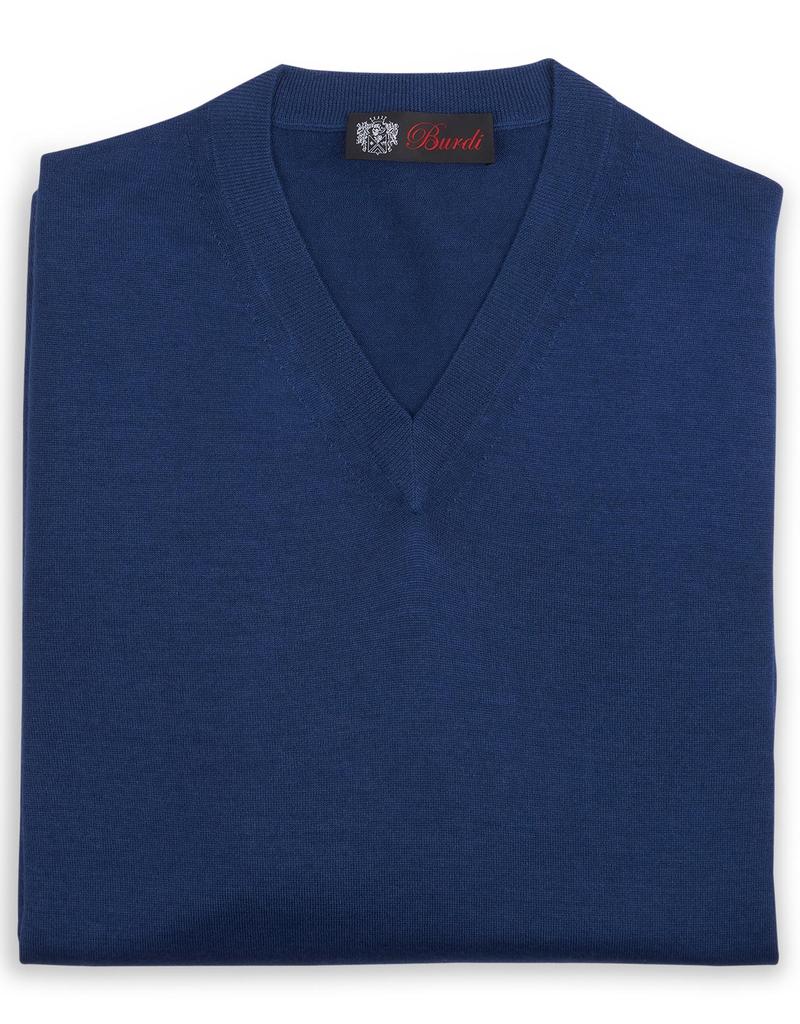 Cashmere / Silk V Neck Sweater, Royal Blue