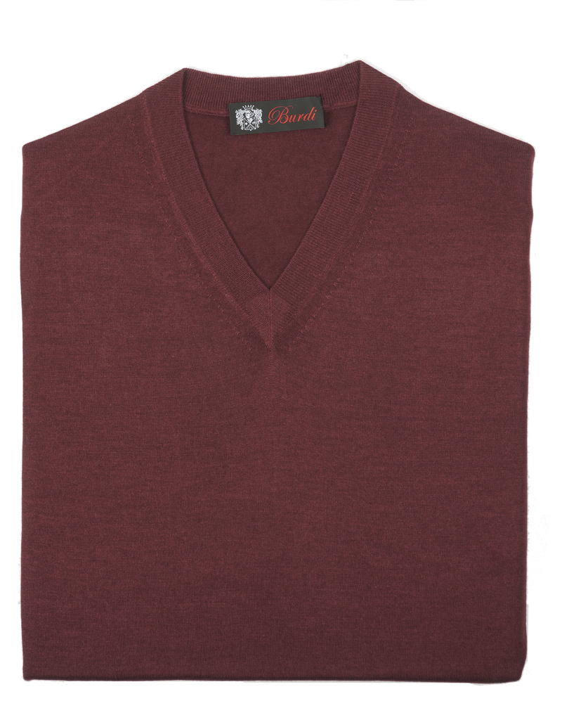 Cashmere / Silk V Neck Sweater, Burgundy