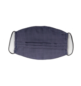 Silk Face mask with carrying pouch Navy grid