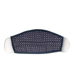 Silk Face mask with carrying pouch Navy Dot