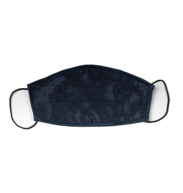 Silk Face mask with carrying pouch Navy micro dot