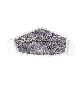 Silk Face mask with carrying pouch Navy & White Paisley