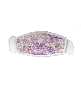 Silk Face mask with carrying pouch Lavender & white paisley