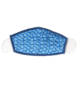 Silk Face mask with carrying pouch Marine Blue leaf