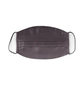 Silk Face mask with carrying pouch Navy & Brown geometric