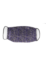 Silk Face mask with carrying pouch Purple & Gray Paisley
