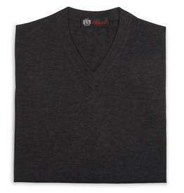 Cashmere / Silk V Neck Sweater, Charcoal