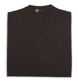 Cashmere / Silk V Neck Sweater, Bark