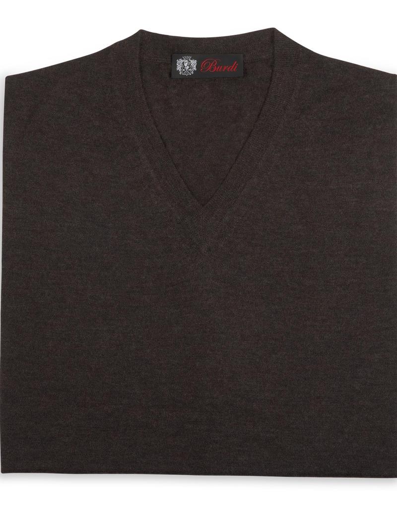 Cashmere / Silk V Neck Sweater, Bark