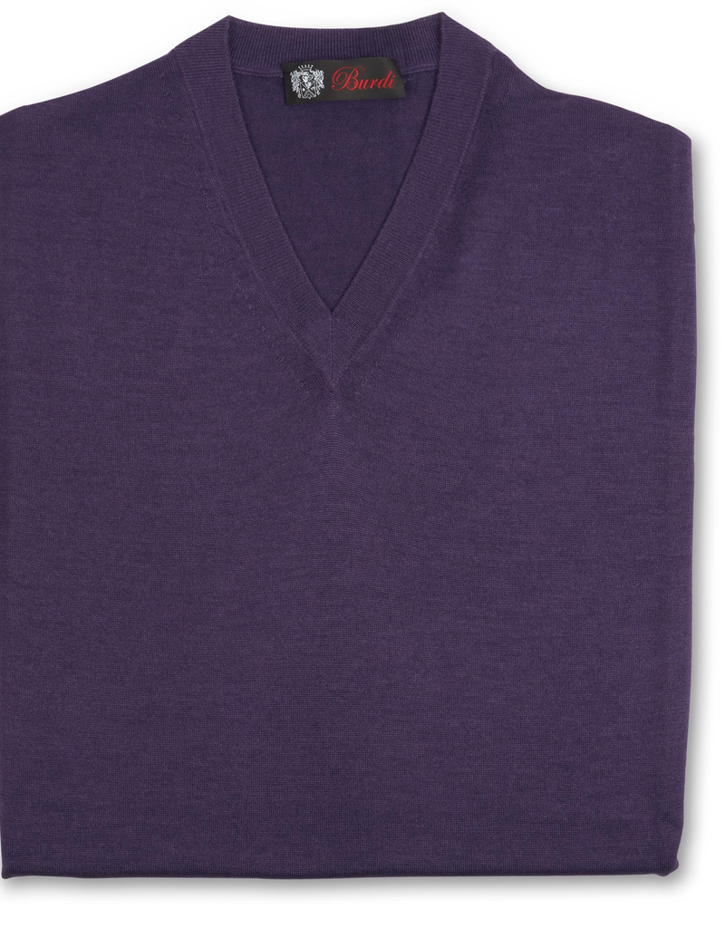 Cashmere / Silk V Neck Sweater, Purple