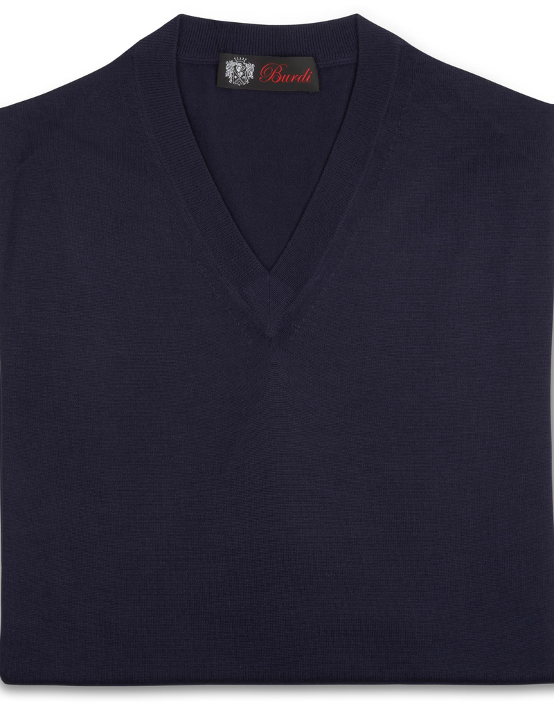 Cashmere / Silk V Neck Sweater, Navy