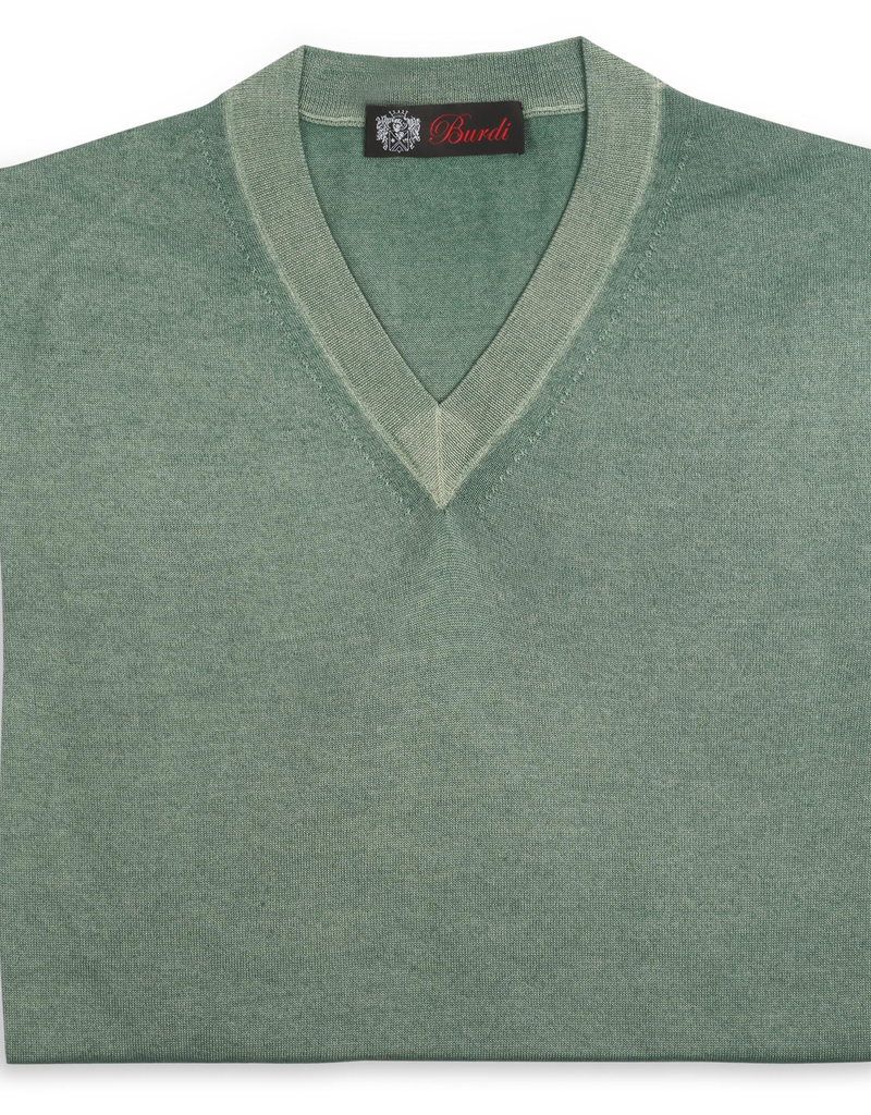 Cashmere / Silk V Neck Sweater, Sage