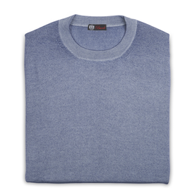 Cashmere & Silk Crew Neck Sweater, Lt. Blue