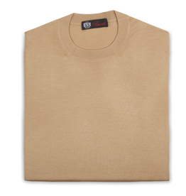 Cashmere & Silk Crew Neck Sweater, Gold