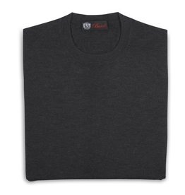 Cashmere & Silk Crew Neck Sweater, Charcoal