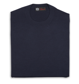 Cashmere & Silk Crew Neck Sweater, Navy
