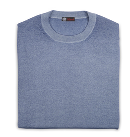 Cashmere & Silk Crew Neck, Lt Blue