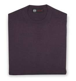 Cashmere / Silk Crew Neck Sweater, Berry