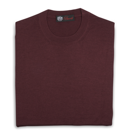 Cashmere & Silk Crew Neck Sweater, Burgundy