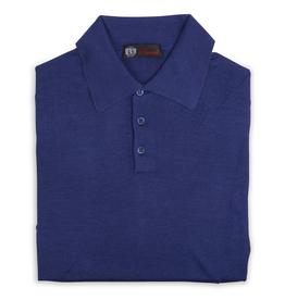 Cashmere / Silk Polo Sweater, Cobalt