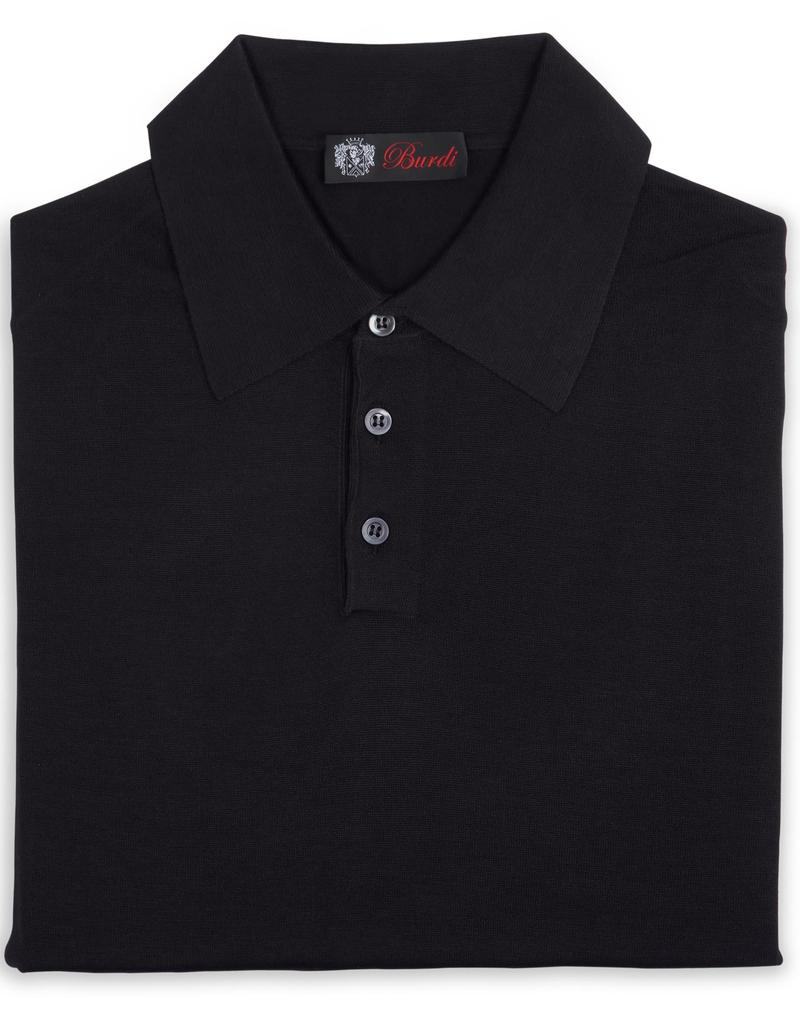 Cashmere / Silk Polo Sweater, Black