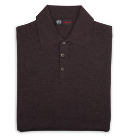 Cashmere / Silk Polo Sweater, Bark