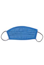 Silk Face Mask, Blue Micro-leaf print