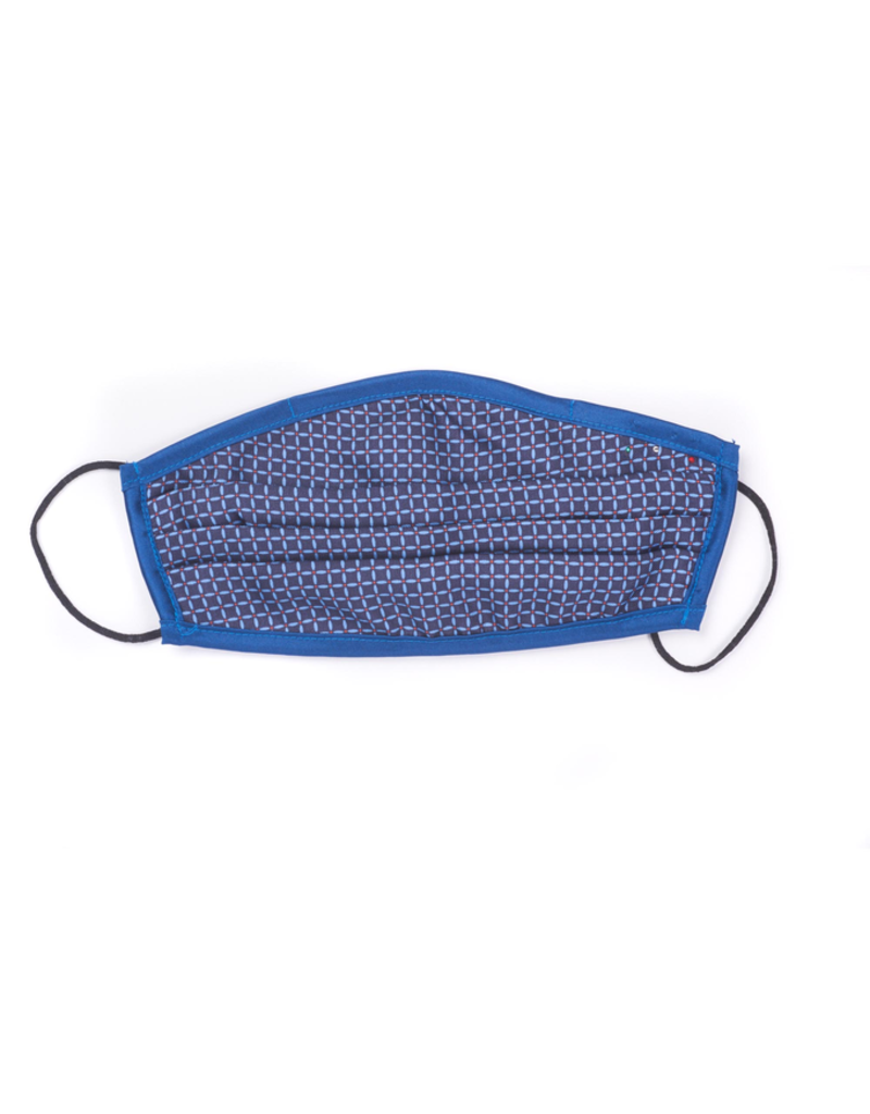 Silk Face Mask, Navy Grid