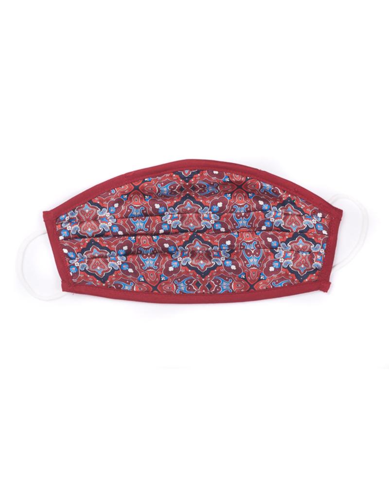 Silk Face Mask, Red mosaic print
