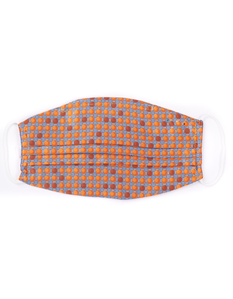 Silk Face Mask, Orange and Silver Grid
