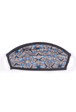 Silk Face Mask, Black, Taupe , and Blue medallion print