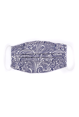 Silk Face Mask, White & Dark Blue Paisley print