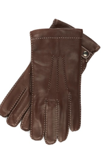 Leather Gloves with Contrast Stitching