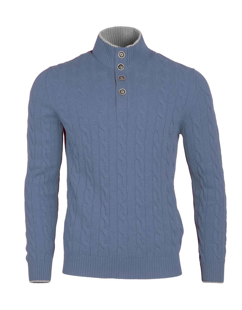 Cable Knit Sweater - Powder Blue