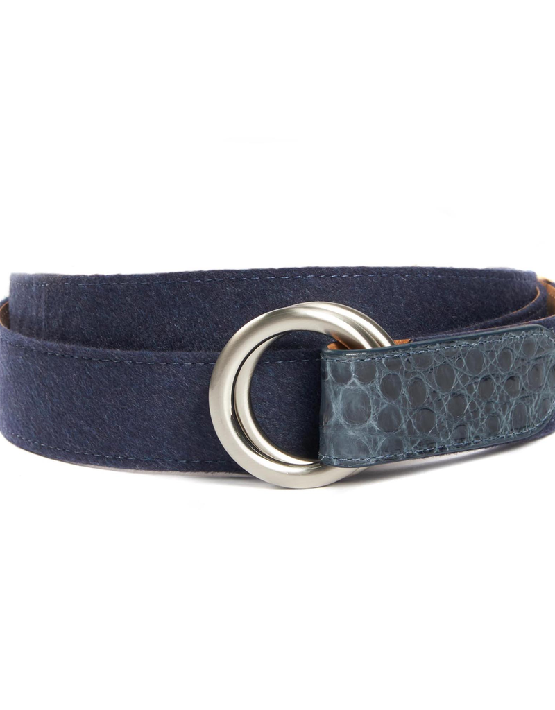Cashmere Belt with Croc Tabs and Brushed Nickel Buckle