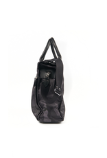 Nylon Carryall bag with Leather Trim. Gray Camo