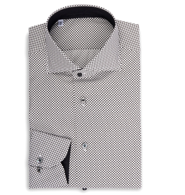 Printed Poplin, Black and White Micro Dot
