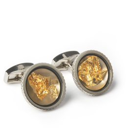 Rhodium Cufflinks Gold Leaf