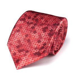 Red Geometric Floral Print Satin Tie