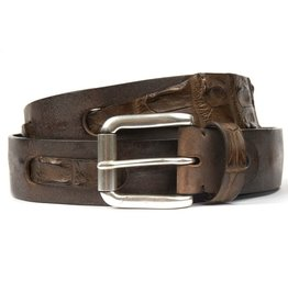 Brown Leather belt with interwoven Crocodile Detailing