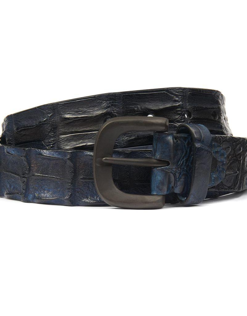 Hornback Crocodile belt- Blue