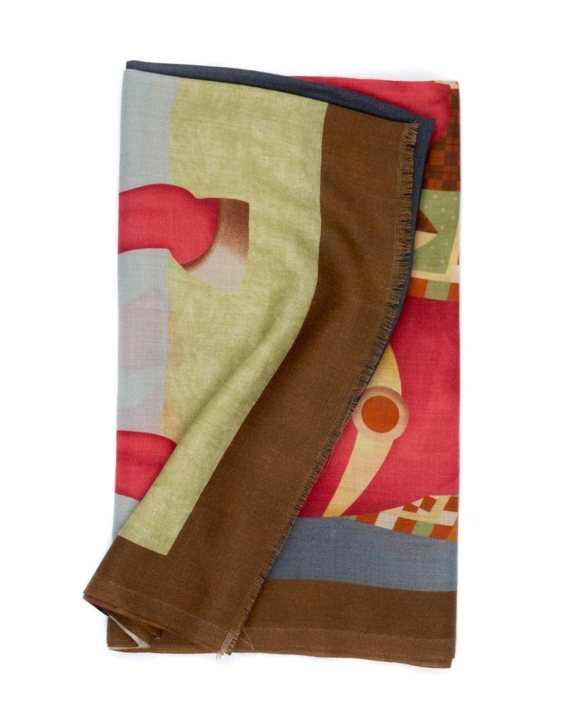 Cashmere hand printed horse scarf