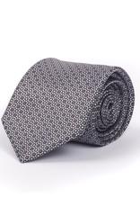 Satin Tie, Small check, Silver & Black