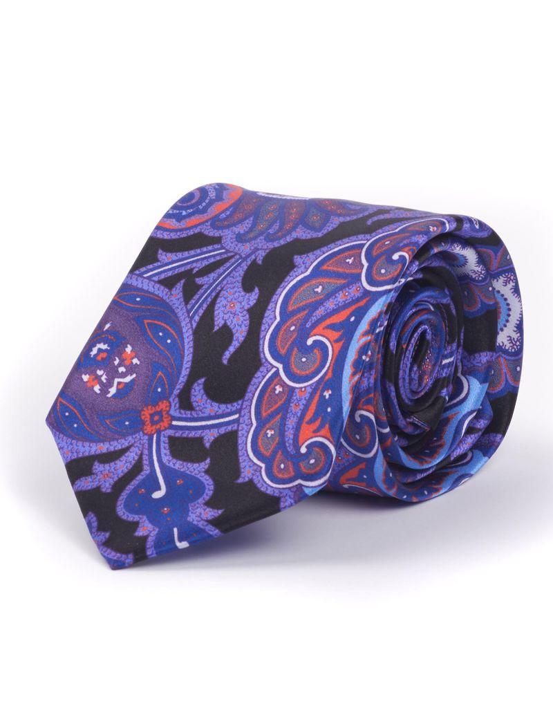 Silk Fuschia & Black Floral Pattern Tie