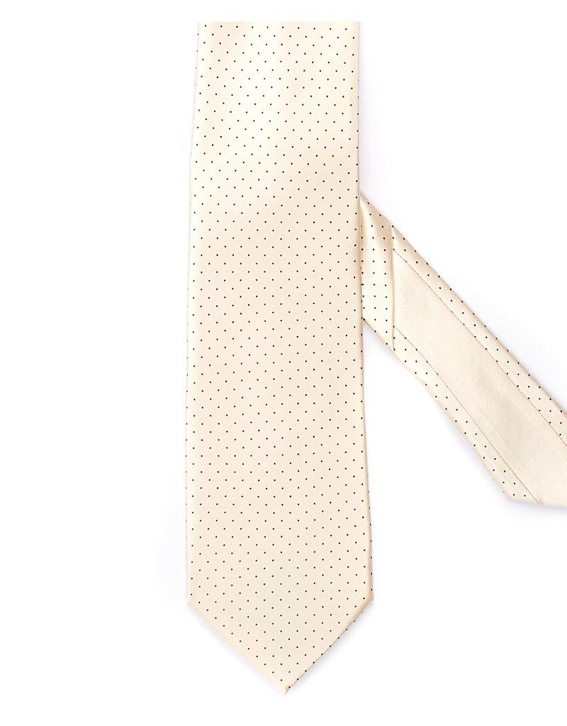 Silk Printed Tie, Black Microdot grid on Cream