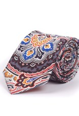 Pure Silk Tie, Gray with Orange Exploding Paisly