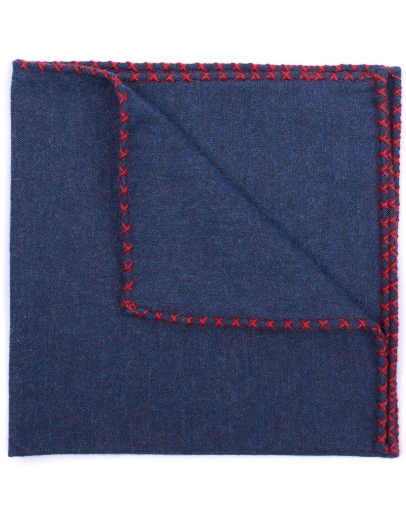 Flannel Pocket Square, Navy with Red