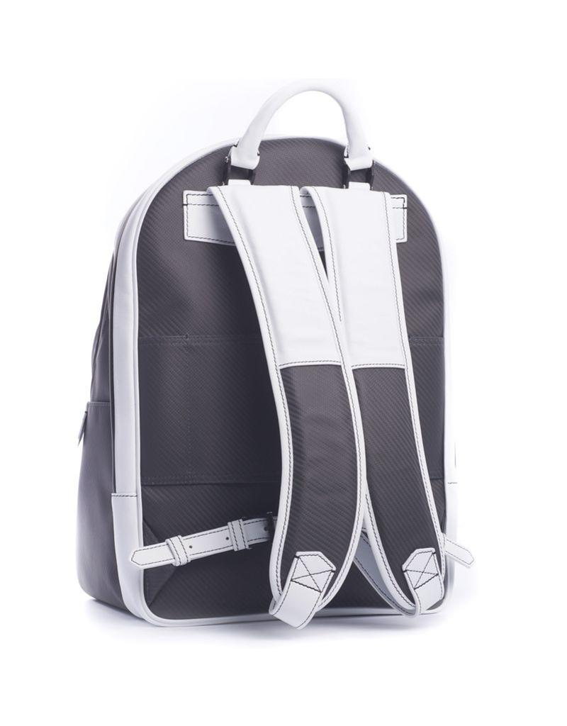 Carbon Fiber and Leather Backpack, White