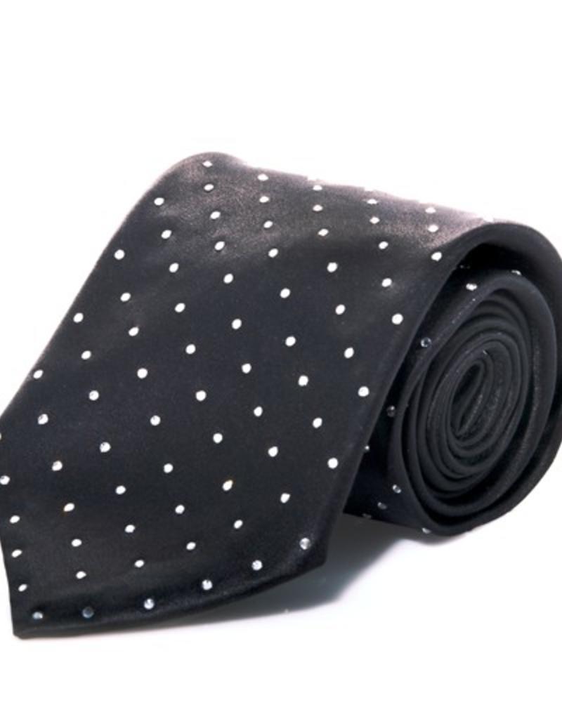 Black Silk Tie with Clear Swarovski Grid Pattern